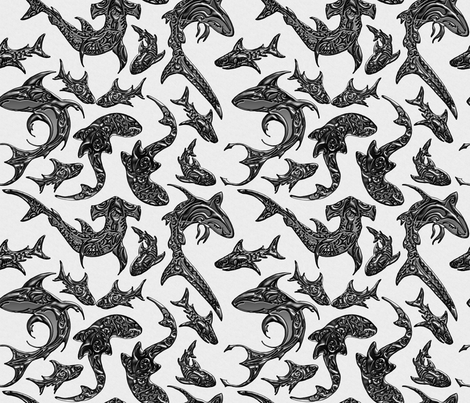 Tribal_Shark_Festival fabric by lisa_binion on Spoonflower - custom fabric