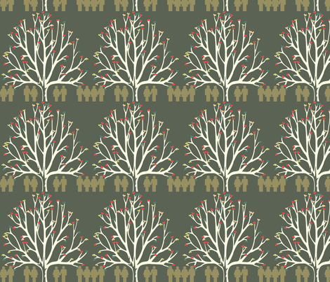 Love Tree Dark Ground fabric by colie*leigh*designs on Spoonflower - custom fabric