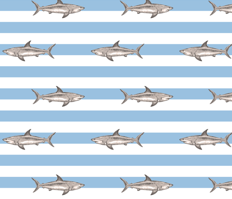 Fresh summer sharks fabric by lucybaribeau on Spoonflower - custom fabric