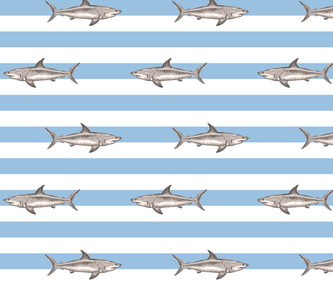 Fresh summer sharks fabric by fantazya on Spoonflower - custom fabric