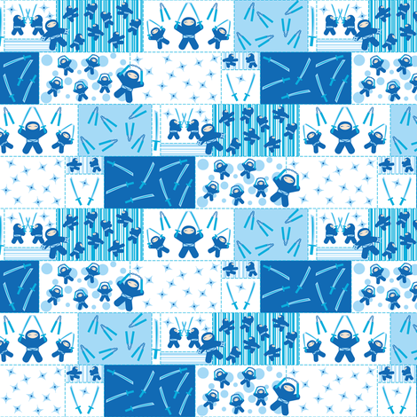 Blue Ninja Blocks fabric by robyriker on Spoonflower - custom fabric