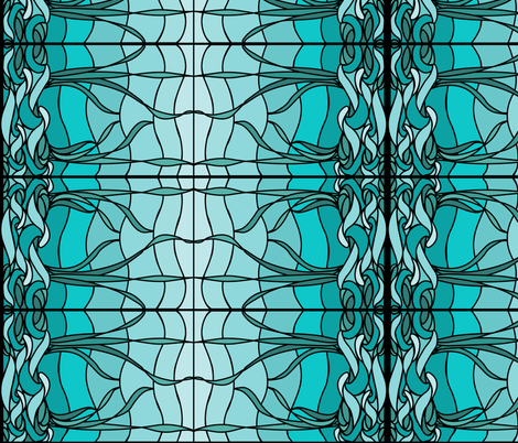 Marsh1b_recolor-waves_AQUA-SKY_BLUEGREEN_border fabric by mina on Spoonflower - custom fabric