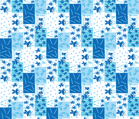 Blue Ninja Blocks (rotated) fabric by robyriker on Spoonflower - custom fabric