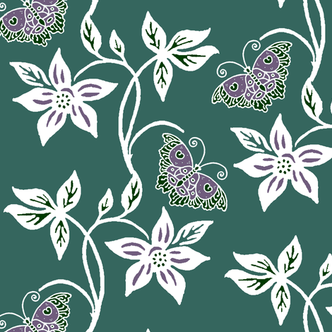 Midnight Garden Purple Butterflies & Flowers Virtual Batik - eggplant white dk-minagreen170 fabric by mina on Spoonflower - custom fabric
