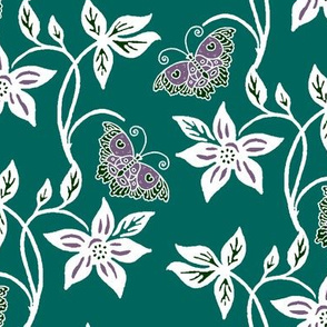 Midnight Garden Purple Butterflies & Flowers Virtual Batik - eggplant white dk-minagreen170