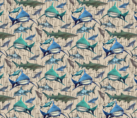 sharkrepeat2150 fabric by emi-chan on Spoonflower - custom fabric
