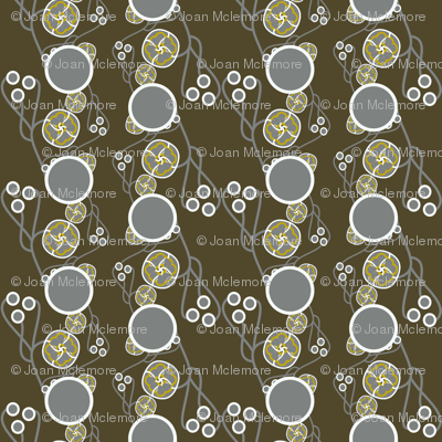 Organic Dots Gold on Taupe Charcoal