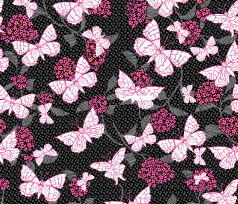 Butterfly Garden Pink fabric by kezia on Spoonflower - custom fabric