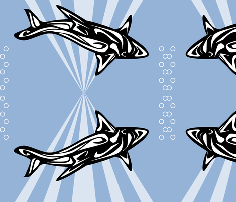 Inuit Inspired Shark fabric by ninjaauntsdesigns on Spoonflower - custom fabric