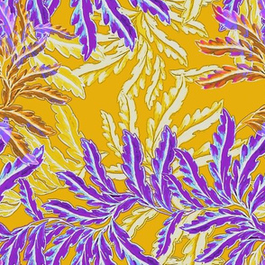Vintage Fern in purple and yellow