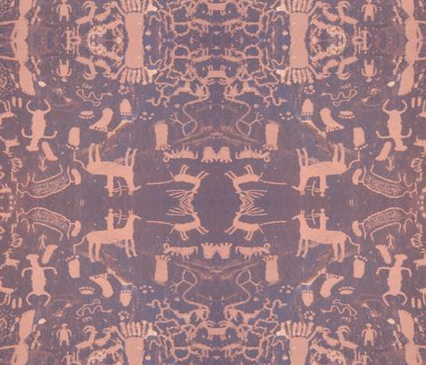 petroglyphs - pink & grey fabric by dreamskyart on Spoonflower - custom fabric