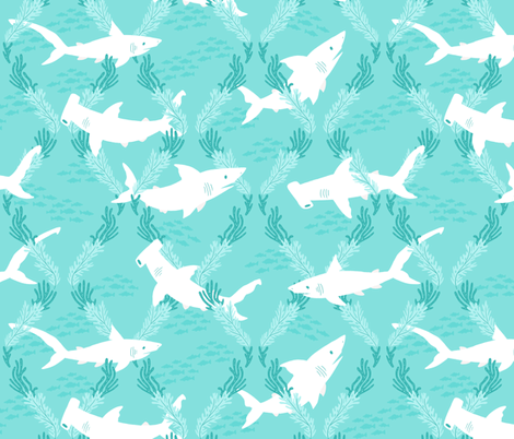 shark_pattern fabric by smalltalk on Spoonflower - custom fabric