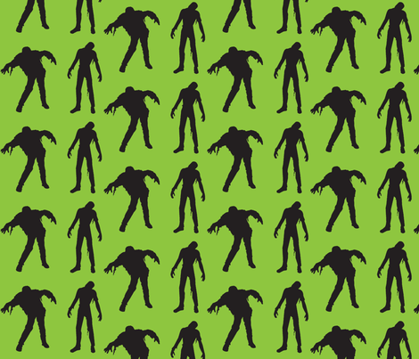 Large Silhouette of the Living Dead Green fabric by thedrunkengnome on Spoonflower - custom fabric