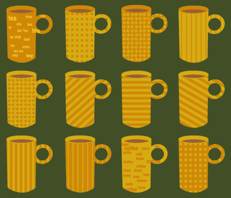 Whimsical coffee mugs. fabric by graphicdoodles on Spoonflower - custom fabric