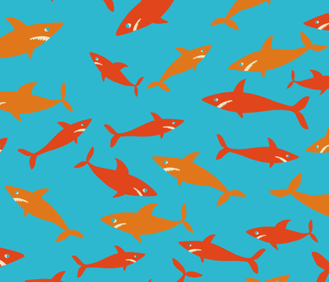 Shark Frenzy fabric by lauredesigns on Spoonflower - custom fabric