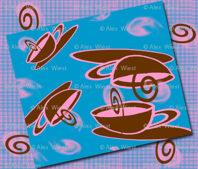 Floating Coffee Cups in Blue Brown Pink