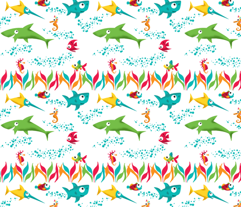 Fish Are Friends, Not Food fabric by jpdesigns on Spoonflower - custom fabric