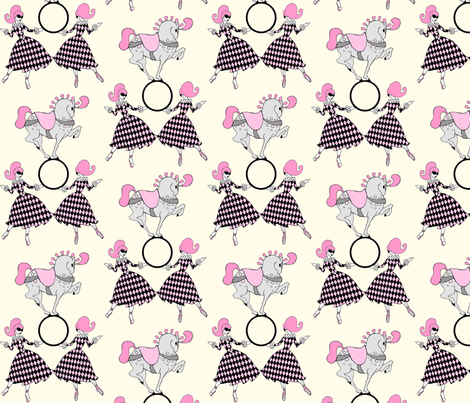 Pink and Cream retro circus fabric by beesocks on Spoonflower - custom fabric