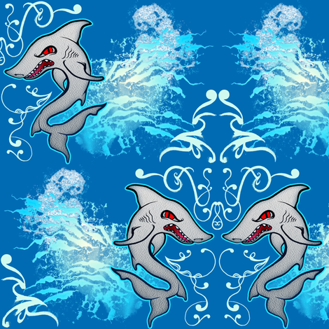 Shark fabric by jadegordon on Spoonflower - custom fabric