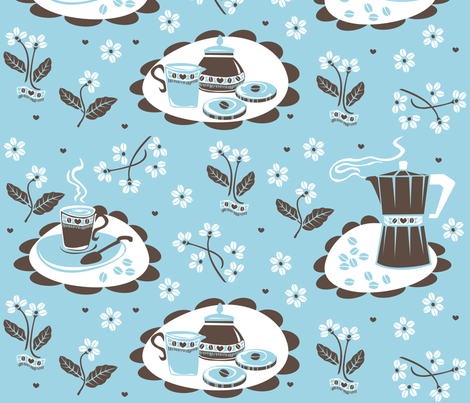 coffee_beans_flowers_blue fabric by niceandfancy on Spoonflower - custom fabric