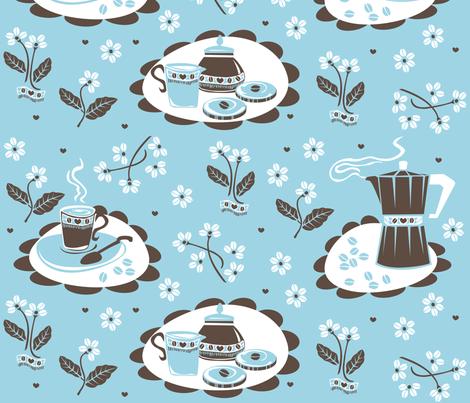coffee_beans_flowers_blue fabric by niceandfancy on Spoonflower - custom fabric