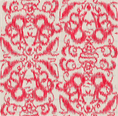 Ikat Damask Red