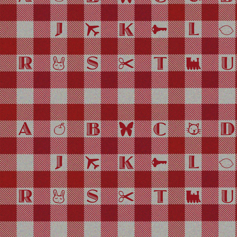 Gingham Alphabet fabric by eclectic_house on Spoonflower - custom fabric