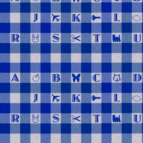 Blue Gingham Alphabet fabric by eclectic_house on Spoonflower - custom fabric