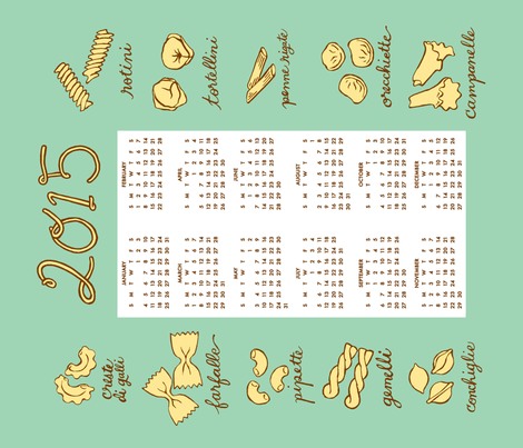 "2015 pasta tea towel calendar - 21"" by 18"" fabric by katherinecodega on Spoonflower - custom fabric"
