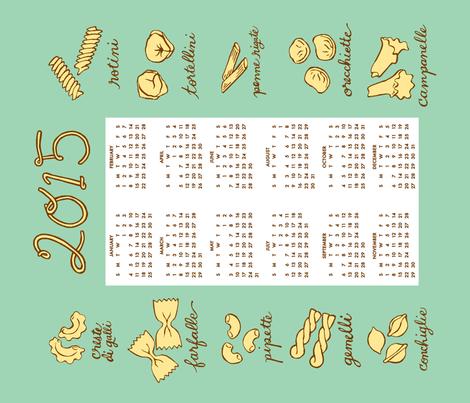 "2015 pasta tea towel calendar - 21"" by 18"" fabric by katherinecodega on Spoonflower - custom fabric"