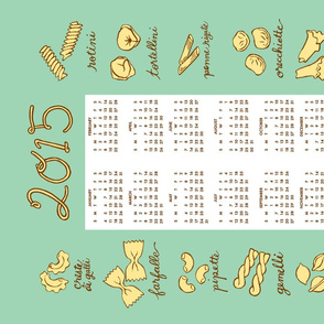 "2015 pasta tea towel calendar - 21"" by 18"""