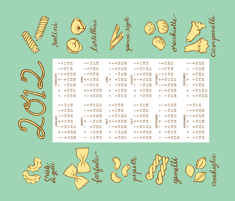 pasta tea towel calendar 2012 fabric by katherinecodega on Spoonflower - custom fabric