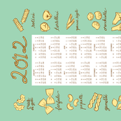 pasta tea towel calendar 2012