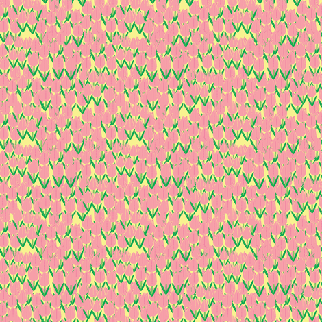 Tulips in the Field-pink on yellow fabric by petals_fair on Spoonflower - custom fabric
