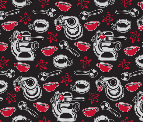 Atomic Coffee Black fabric by cjldesigns on Spoonflower - custom fabric