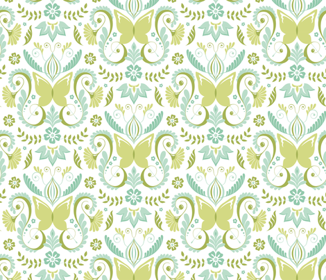 Butterfly Damask - Aqua fabric by pattysloniger on Spoonflower - custom fabric