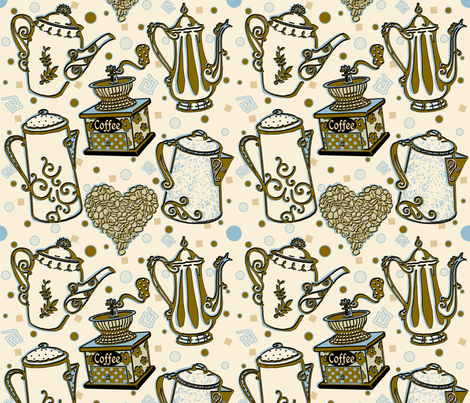 CoffeeDelight_byTeresaMilburnKelly fabric by doodledoer-teresakelly on Spoonflower - custom fabric