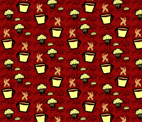 Lemon Poppy Seed Muffins and Coffee (floral) fabric by pond_ripple on Spoonflower - custom fabric