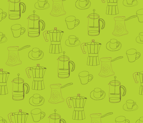 cafetera, french press or turkish? fabric by p_kok on Spoonflower - custom fabric