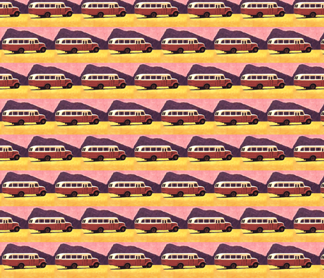 old_volvo_scania_bus_vintage_painting fabric by vinkeli on Spoonflower - custom fabric