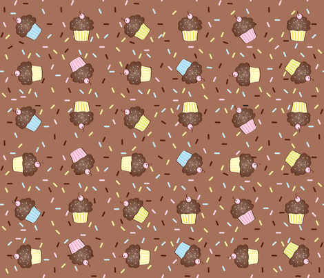 Yumcakes! in milk chocolate - © Lucinda Wei fabric by lucindawei on Spoonflower - custom fabric