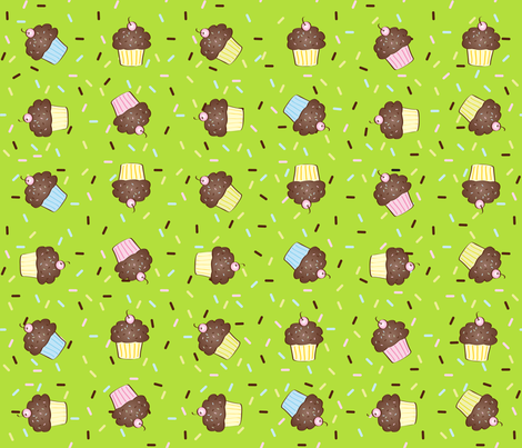 Yumcakes! in zesti lime - © Lucinda Wei fabric by lucindawei on Spoonflower - custom fabric