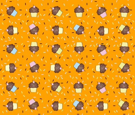 Yumcakes! in sherbet orange - © Lucinda Wei fabric by simboko on Spoonflower - custom fabric