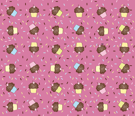 Yumcakes! in berry pink - © Lucinda Wei fabric by lucindawei on Spoonflower - custom fabric