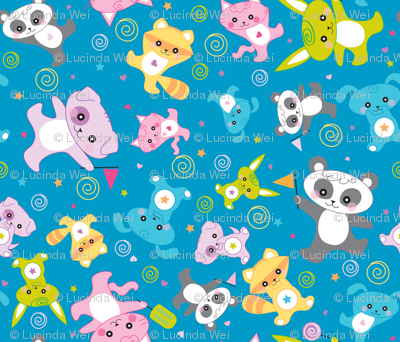 kawaii: happy critters in blue  - © Lucinda Wei