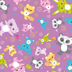 kawaii: happy critters in purple - © Lucinda Wei