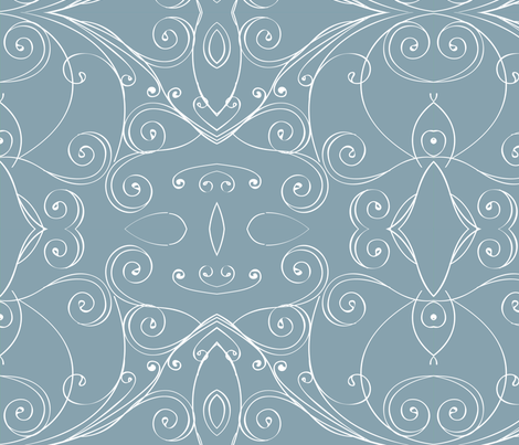 Surfer Waves in Slate Gray - © Lucinda Wei fabric by lucindawei on Spoonflower - custom fabric