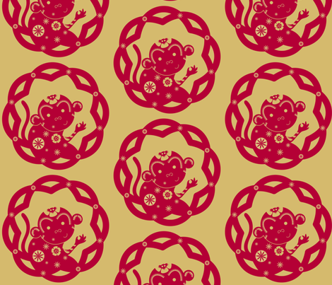 The Year of the Monkey (solo): Red & Gold - © Lucinda Wei fabric by lucindawei on Spoonflower - custom fabric