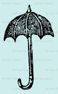 Rainy Days Vintage Umbrella (black & lt. aqua)