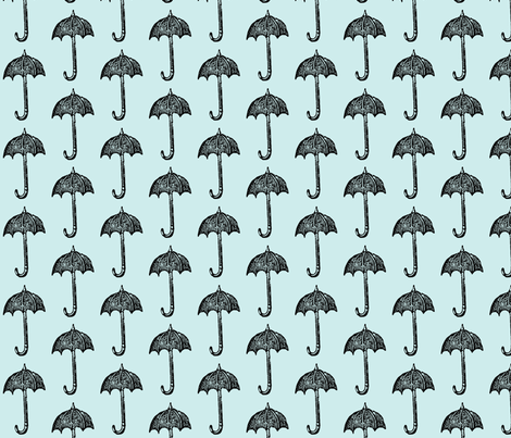 Rainy Days Vintage Umbrella (black & lt. aqua) fabric by pattyryboltdesigns on Spoonflower - custom fabric